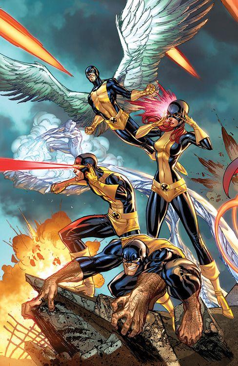 "comicbookwomen: J. Scott Campbell - The Original X-Men: Angel (Warren Worthington III), Beast (Henry ""Hank"" McCoy), Cyclops (Scott Summers), Iceman (Bobby Drake), & Marvel Girl (Jean Grey)"