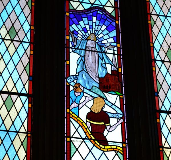 Stained glass window commemorating 100 years in 1989 at Albert Street Uniting Church.