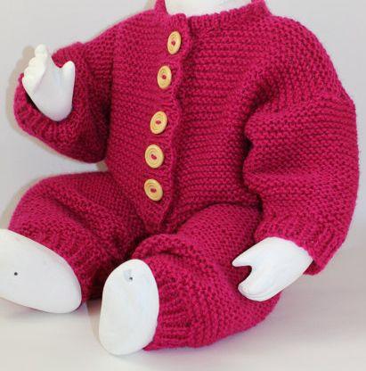 Knitting Pattern Garter Stitch Baby Onesie - This easy garter stitch onesie is worked flat on straight needles in aran weight yarn. 5 sizes XS( 0-3 months), S (3-6 months), M (6-9 months), L (9-12 months) and XL (12-18 months). Designed by Christine Grant