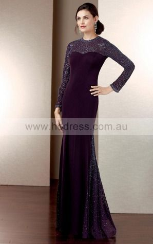 None Floor-length Natural Sheath Chiffon Formal Dresses aiga307025--Hodress