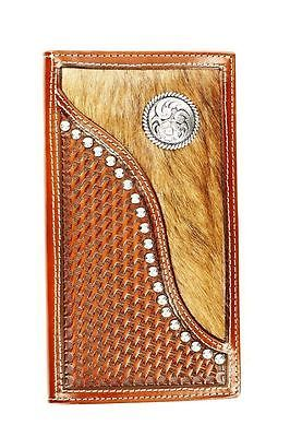 Ariat Western Wallet Mens Rodeo Hair Studs Leather Tan A3511608