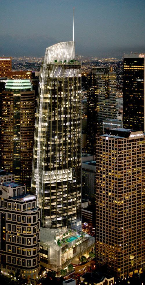 The Wilshire Grand Hotel Tower, a new 73 story building slated to be built in Downtown Los Angeles, California.
