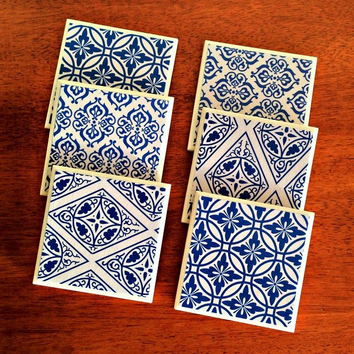 6 x Ceramic Tile Drink Coasters Cobalt Blue & White Geometric Circles Diamonds - by StudioAstratta on madeit