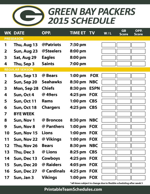Green Bay Packers 2015 Schedule. Printable version here: http://printableteamschedules.com/NFL/greenbaypackersschedule.php