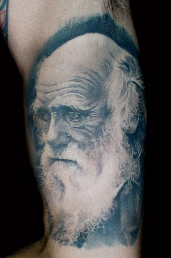 "Realistic ""Charles Darwin"" tattoo. Great!"