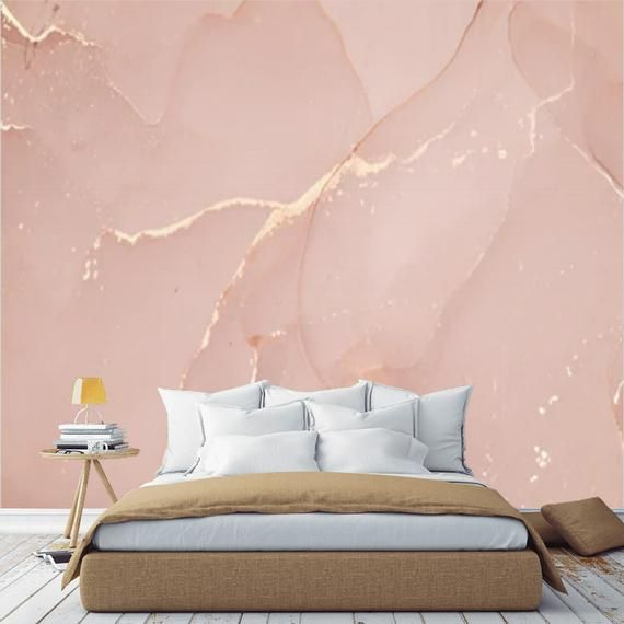 Peel And Stick Marble Pink Gold Wallpaper Mural Marble Self Adhesive Abstract Wall Mural Accent Wall Removable Marbled Wall Paper Wall Decal In 2021 Pink And Gold Wallpaper Pink Bedroom Walls