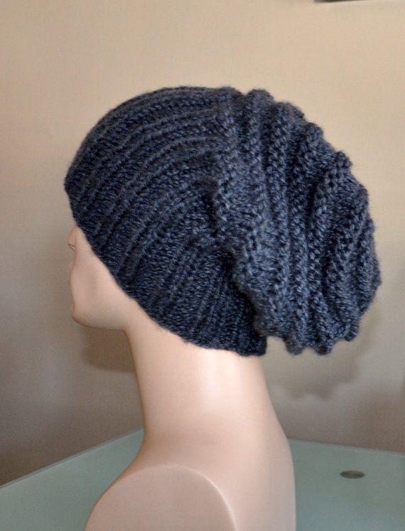 4256936fab7 Knit man hat Men Slouch Beanie Slouchy Hat Winter Adult Teen