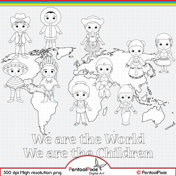 Children Around The World Digital Stamp Clipart World Etsy In 2021 Digital Stamps Digi Stamps Coloring Pages