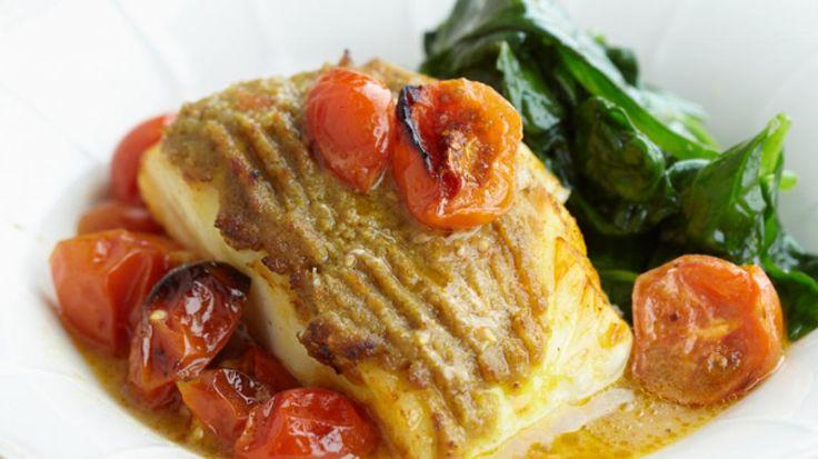 Kabeljauw met groene curry en kerstomaatjes | VTM Koken