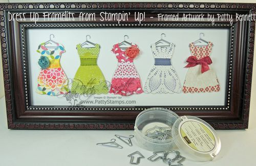 Stampin' Up!...All Dressed Up Framelits Die...such a creative use of this die...lots of stamps and embelishments from both the Spring Catalog and the Annual Catalog...also showcases techniques to create the dresses...love this framed art by Patty at http://www.pattystamps.typepad.com/pattys_stamping_spot/2013/01/stampin-up-dress-up-framed-art-by-patty.html