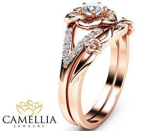 Rosa oro anillo de compromiso anillo de diamante rosa luz 09