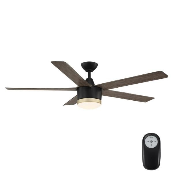 Home Decorators Collection Merwry 56 In Integrated Led Indoor Outdoor Matte Black Ceiling Fan With Light Kit And Remote Control Sw1422 56in Mbk The Home Depo Black Ceiling Fan Ceiling Fan With Light