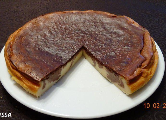 Tarta de queso con chocolate para #Mycook http://www.mycook.es/cocina/receta/tarta-de-queso-con-chocolate