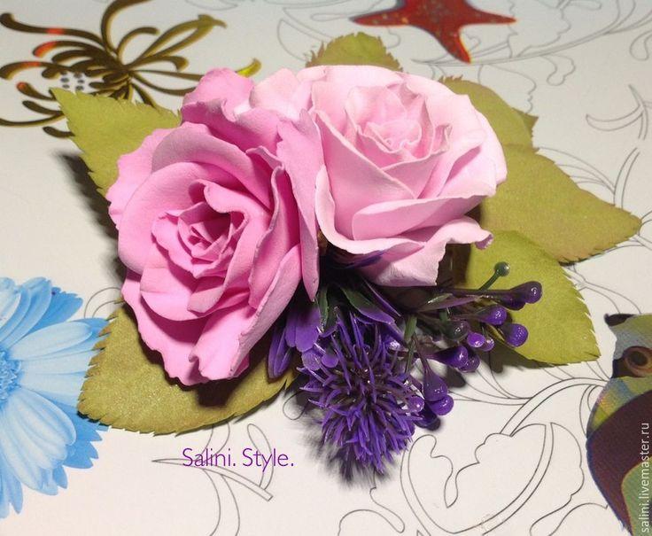 """Купить Резинка для волос из трех розочек""""Розовое чудо"""" - розовый, фоамиран, фом, фом эва, цветы"""