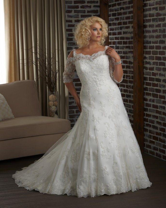 Half Sleeve Lace Wedding Dress Plus Size