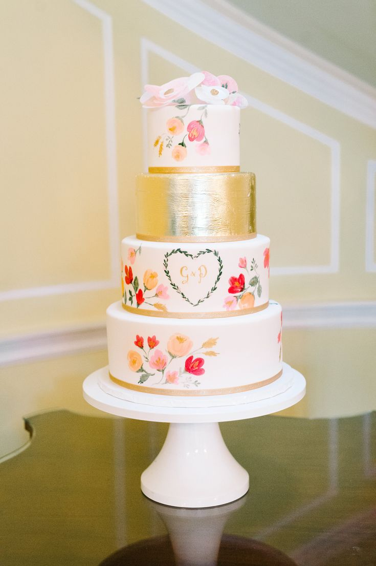 water color wedding cake made by PPHG pastry chef Jessica Grossman at Genevieve & Pat's wedding at the Lowndes Grove Plantation | Charleston, SC |  Photo by Aaron and jillian Photography