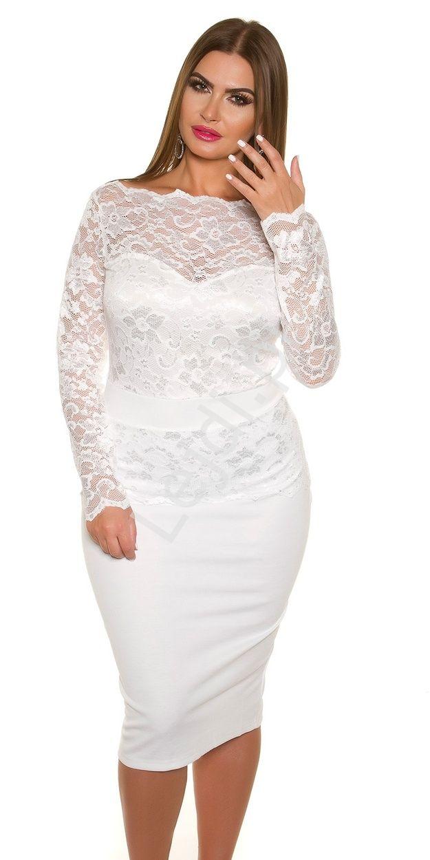 bc9c8252ce Biała elegancka sukienka koronkowa plus size 334p -4