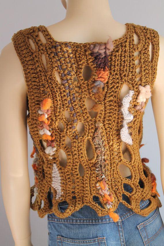 Freeform Crochet Vest  - Top  - Wearable Art - OOAK