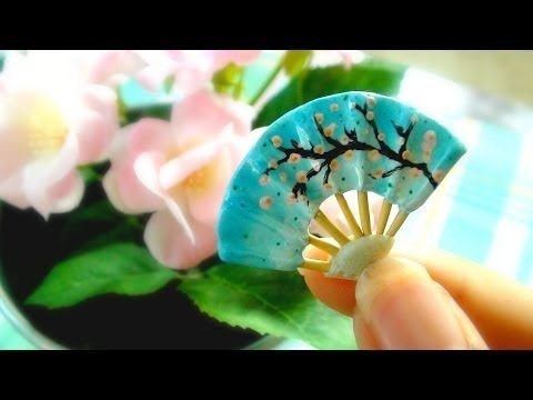 Miniature Japanese Fan Tutorial (Polymer Clay) - YouTube