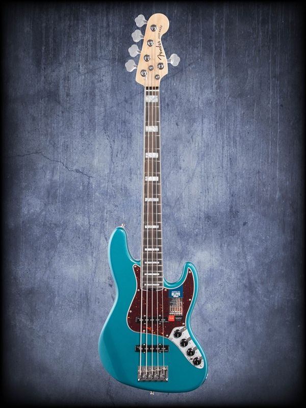 Fender American Elite Jazz Bass V Ebony Neck Ocean Turquoise | An