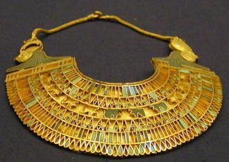 Ancient Egyptian gold jewelry artifact exhibit in the Egyptian museum in Cairo