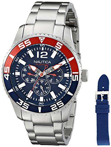 Nautica Herren-Armbanduhr 44mm Armband Edelstahl + Gehäuse Quarz Zifferblatt Blau Analog NAD16503G - http://uhr.haus/nautica/nautica-herren-armbanduhr-44mm-armband-geh-use