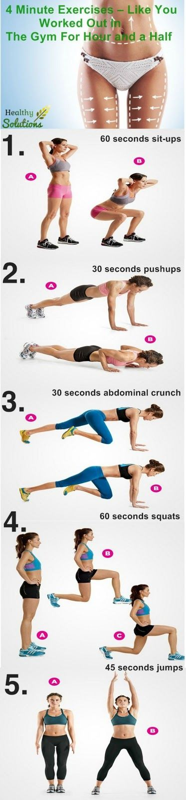 Health Fitness & Beauty: The Gym for 1.5 hour = These 4 min exercises