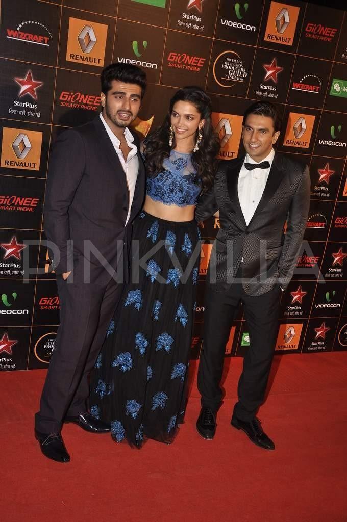 Deepika Padukone, Ranveer Singh and Arjun Kapoor at the Star Guild Awards | PINKVILLA