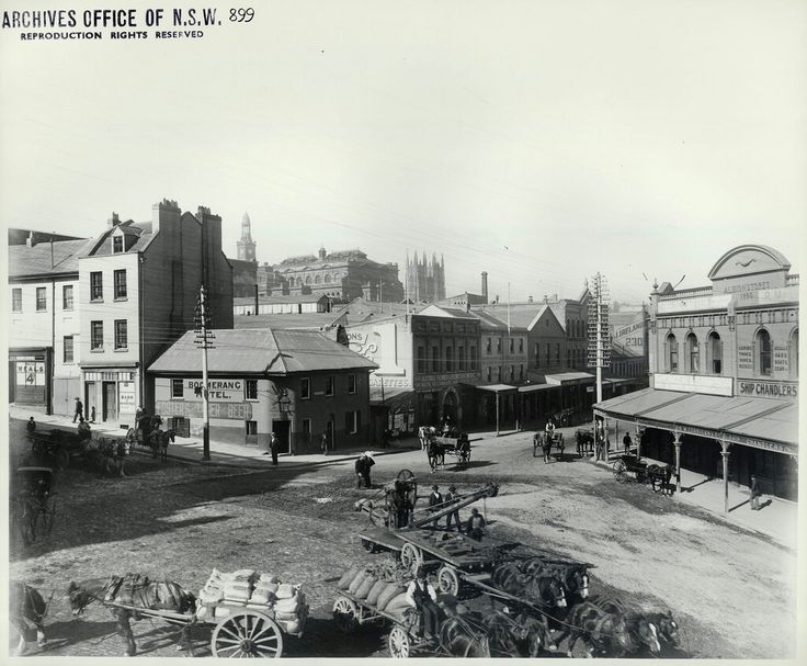 Corner of Sussex and Market Streets,Sydney in 1900.