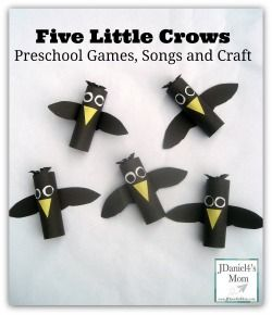 """Sing """"Five Little Crows"""" song and create a fun crow craft."""