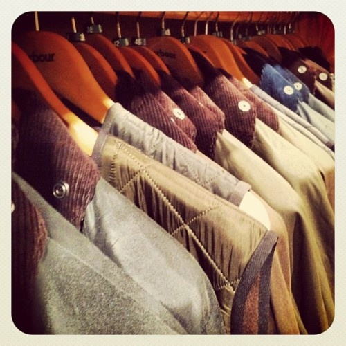 Jackets at Barbour Boston.