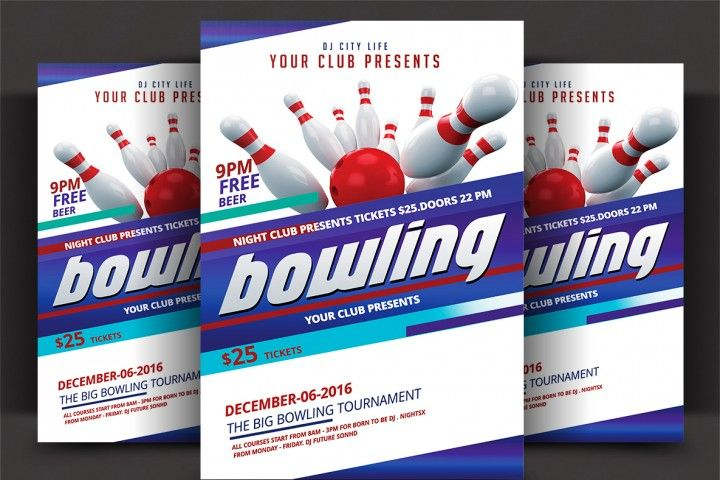 New Link Flyer Template Flyer Bowling