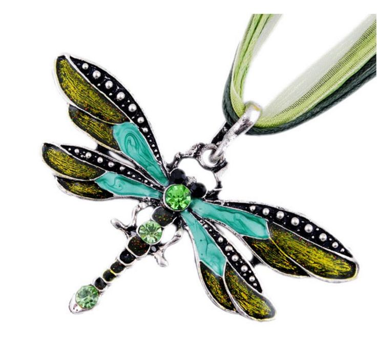Antique Dragonfly Crystal Pendant Necklace