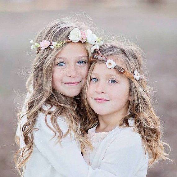 Tea Party flower crown, baby's breath with blush ranunculus, boho baby, toddler halo, toddler flower crown, flower girl head piece, ws04