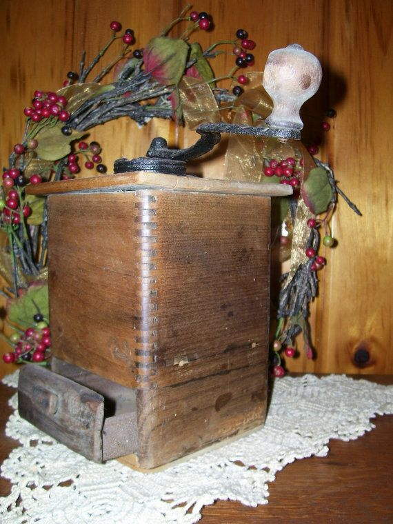 1800's Primitive Antique Victorian Wooden Coffee Grinder Wooden w/Dovetailing