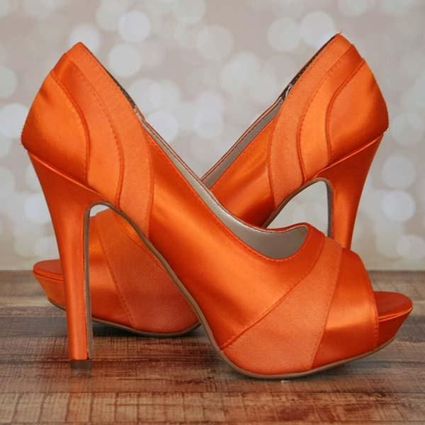 Orange Wedding Shoes -- Orange Platform Peeptoes with Chiffon Panels
