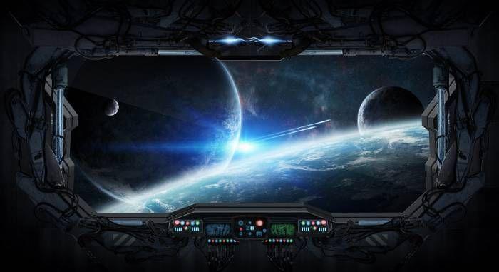 korytarz niebieski galaktyka wszechświat - 124507491