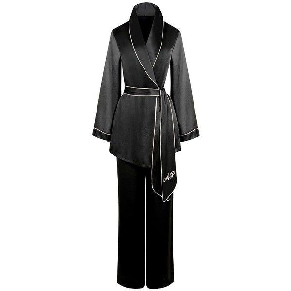 Agent Provocateur Classic Pyjama Bottom Black ($125) ❤ liked on Polyvore featuring intimates, sleepwear, pajamas, black, nightwear, silk pyjamas, silk sleepwear, agent provocateur, silk pjs and silk pajamas