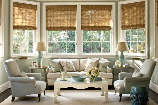 Design Chic - beautiful living room from Phoebe Howard - love the bamboo shades