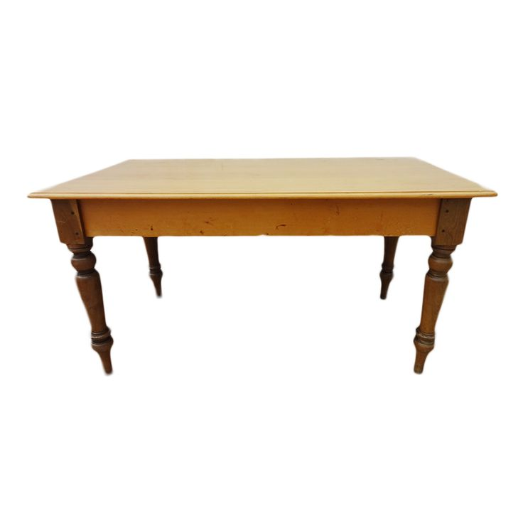 the moulded rectangular top above a plain frieze, on turned, tapering legs 78cm high, 152cm wide, 87cm deep