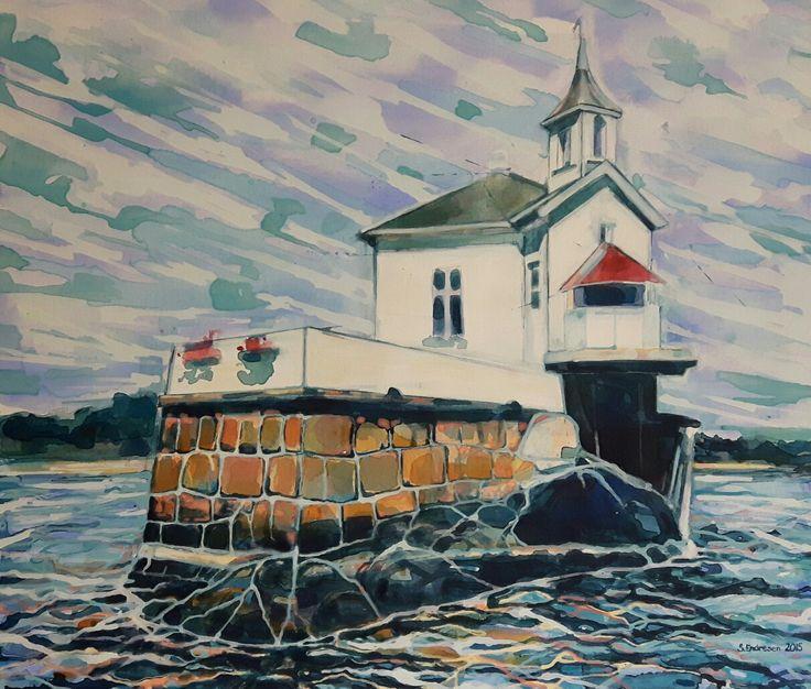 Dyna fyr - Sissel Endresen Akrylmaleri - painting - Oslofjorden - sommer