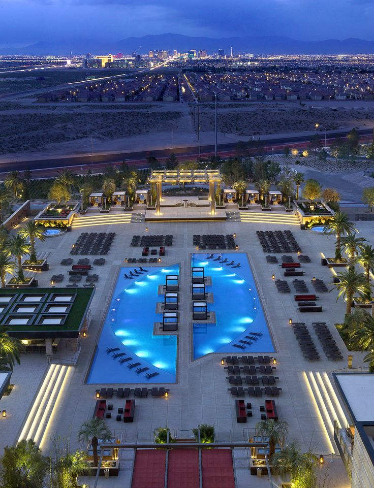 View from The M Resort - located on South. Las Vegas Blvd, Henderson - overlooking the resort pool & view to Las Vegas.