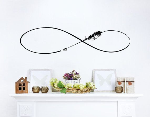 Infinity Symbol Wall Decals Boho Arrow Vinyl Stickers Bedroom Bohemian Bedding Decal Home Bedroom Decor  ✦ Available sizes (approximate):  Please