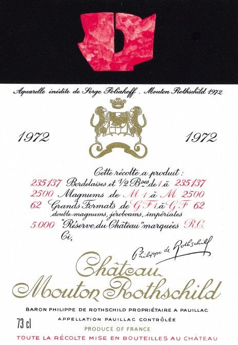 1972 Chateau Mouton-Rothschild label by Serge Poliakoff. #Wine / Balance, colour, richness: his work for the Mouton Rothschild 1972 label has all the qualities of a great wine.