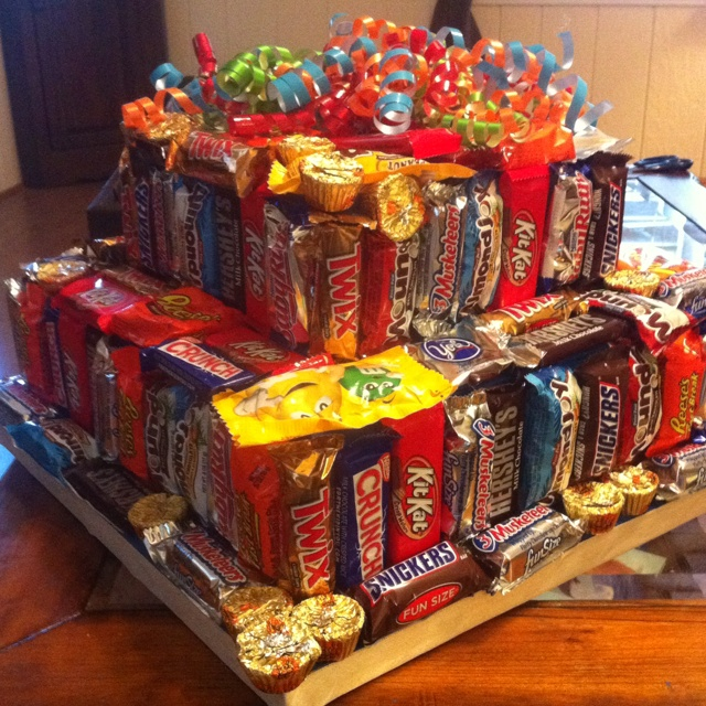 """Candy bar """"cake"""" ...I should have done this for Caily"""