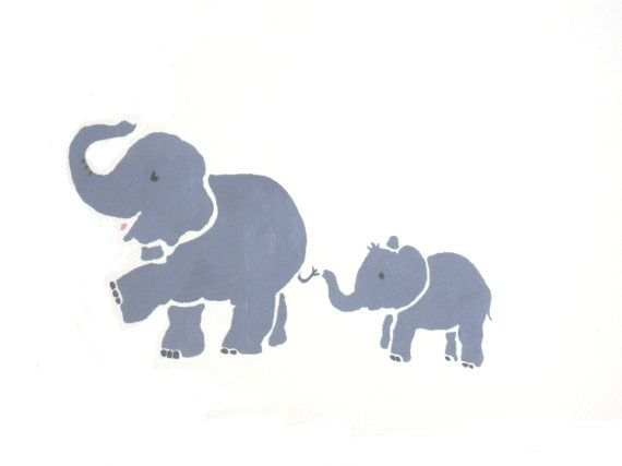 Elephant Stencil Wall Decor Large Nursery Decoration Kids Room Art For The Pinterest Stencils