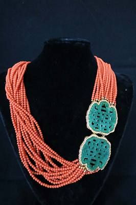 VTG RARE Sgnd KJL Kenneth Jay Lane Faux Coral  Carved Jade Torsade Necklace