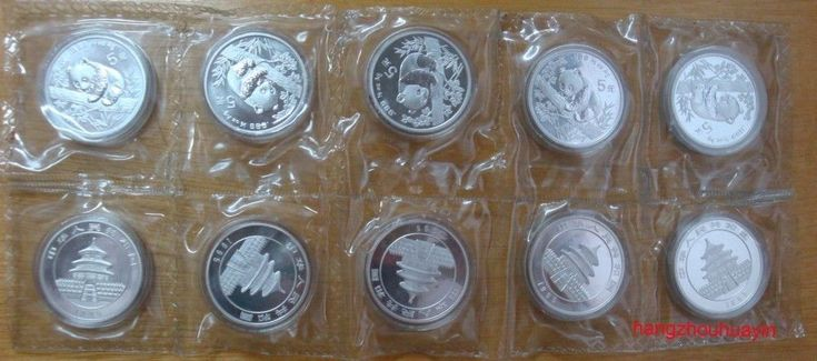 lot of 10 coins 1995 1/2oz silver coin panda small date shenyang mint sealed