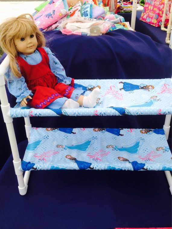 Bunk bed for American Girl dolls or Baby dolls.  I have this in pink also. Fabric can be ordered in any print you would like.    Made from Sturdy