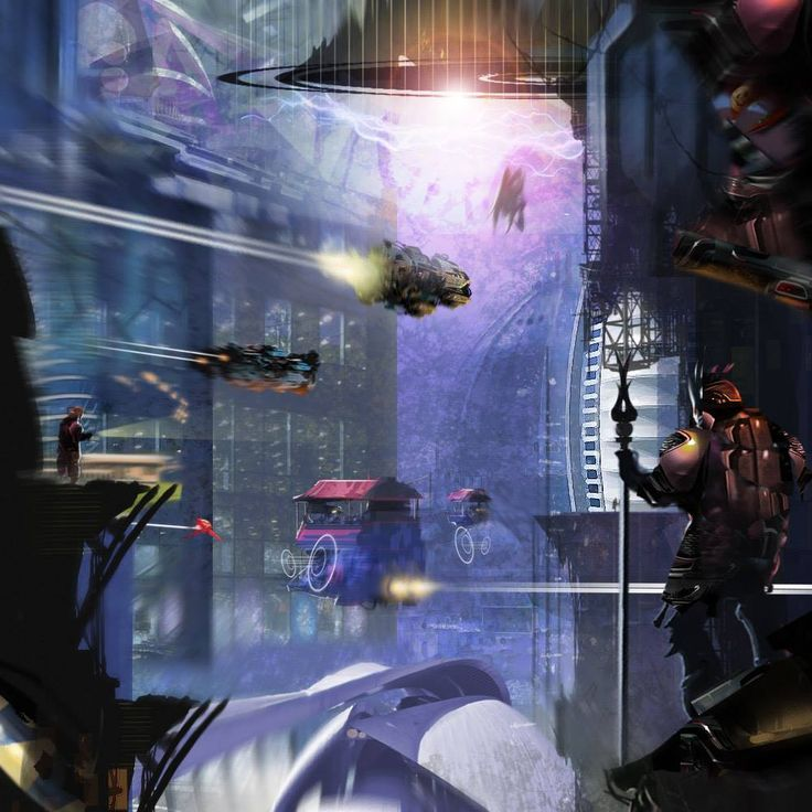 """Purple Haze"" by #DarrenLewis. #sciencefiction #scifi #cityscape"